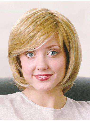 Great Blonde Straight Chin Length Monofilament Wigs