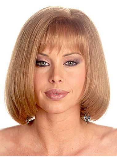 No-fuss Blonde Monofilament Shoulder Length African American Wigs