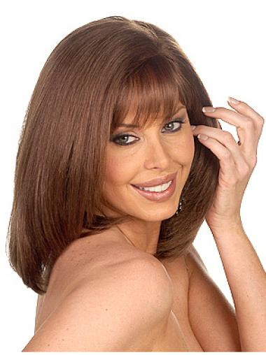 Polite Monofilament Straight Shoulder Length African American Wigs