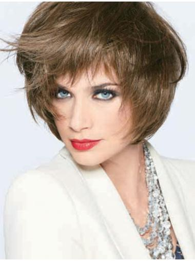 Monofilament Refined With Bangs Straight Short Wigs