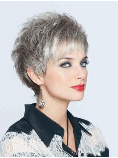 Top Lace Front Cropped Synthetic Grey Wigs