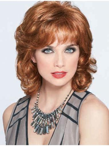 Perfect Auburn Wavy Shoulder Length Classic Wigs