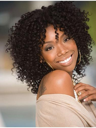 Polite Black Curly Shoulder Length Jennifer Hudson Wigs