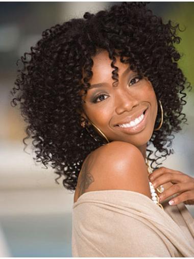 Polite Black Curly Shoulder Length Jennifer Hudson Wigs