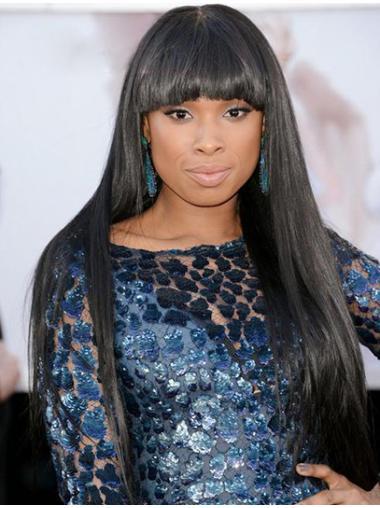Easeful Black Straight Long Jennifer Hudson Wigs