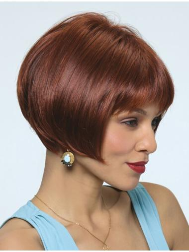 Refined Red Straight Chin Length Bob Wigs