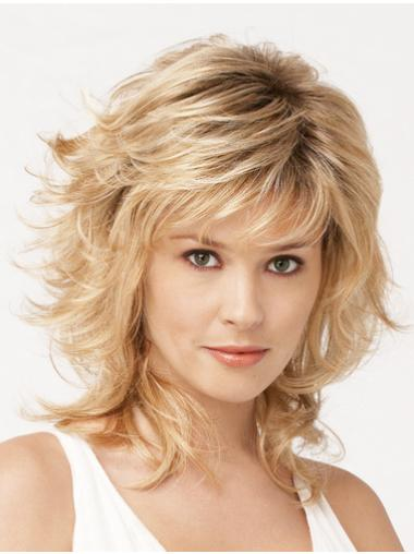 Blonde Wavy Synthetic Medium Wigs