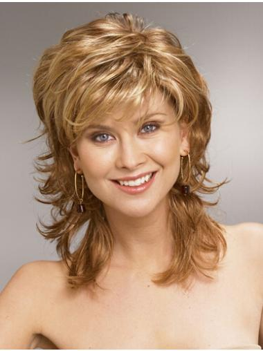 Blonde Wavy Synthetic Perfect Medium Wigs Real Hair Wigs