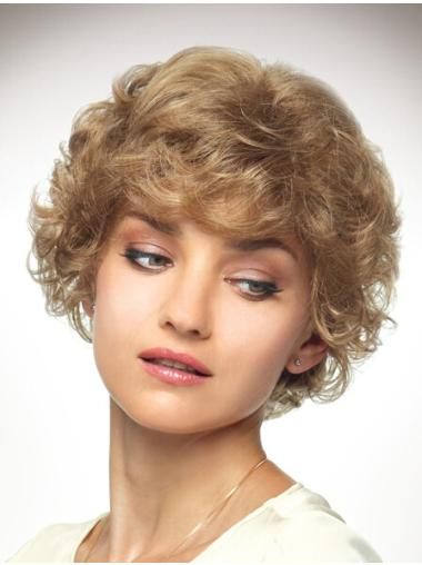 Blonde Curly Synthetic Radiant Medium Wigs