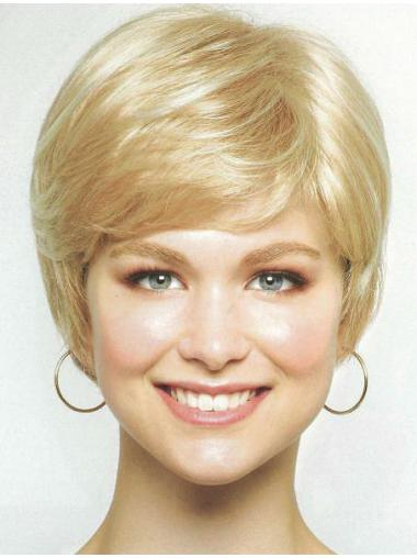 Blonde Straight Synthetic Traditiona Medium Wigs