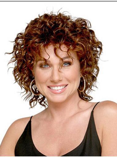 Sleek Auburn Curly Shoulder Length Wigs