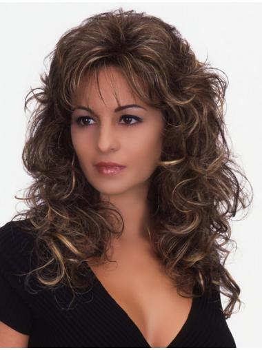 Brown Curly Synthetic Natural Long Wigs