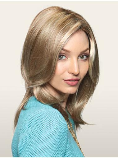 Traditiona Blonde Monofilament Synthetic Long Wigs