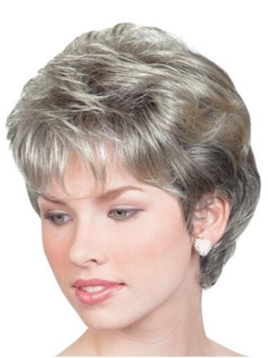 Flexibility Wavy Chin Length Synthetic Grey Wigs