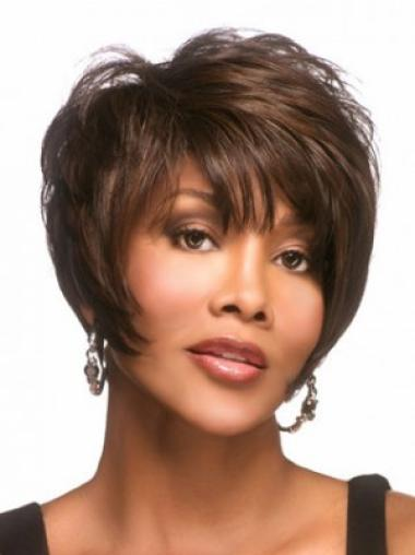 Brown Convenient Layered Straight Short Wigs