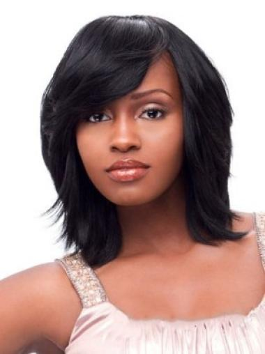 Black Straight Synthetic Medium Wigs