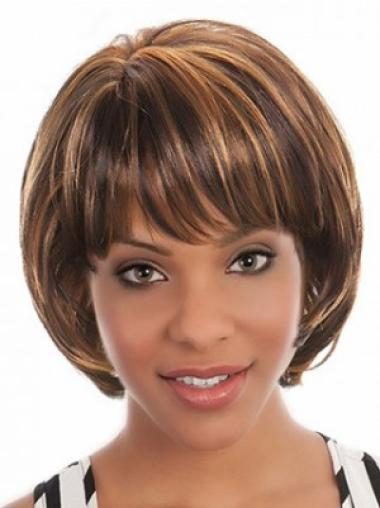 Brown No-fuss Straight Synthetic Medium Wigs