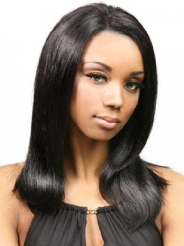Black Lace Front Remy Human Hair Discount Medium Wigs