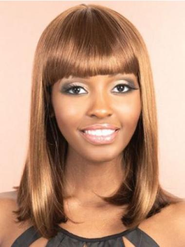 Fashionable Brown Straight Shoulder Length Synthetic Wigs
