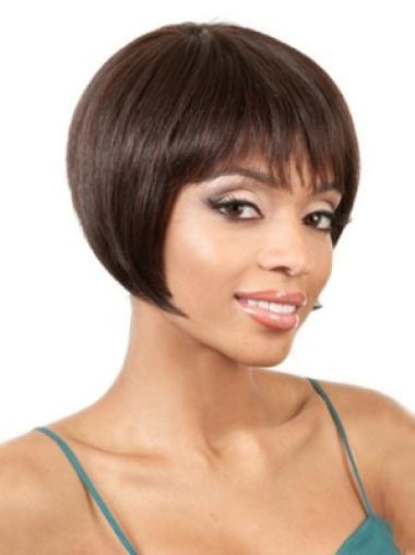 High Quality Remy Human Hair Auburn Straight Medium Wigs