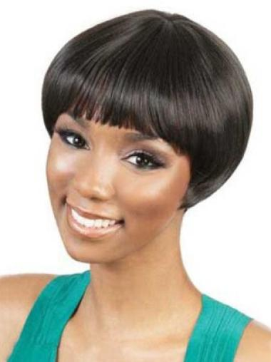 Black Straight Synthetic Nice Short Wigs