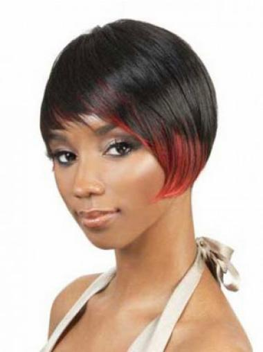 Black Straight Synthetic Tempting Short Wigs