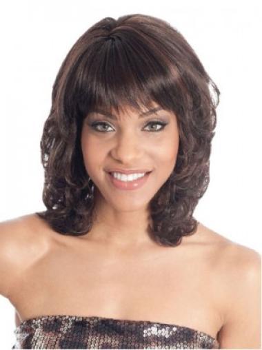 Brown Stylish Wavy Synthetic Medium Wigs