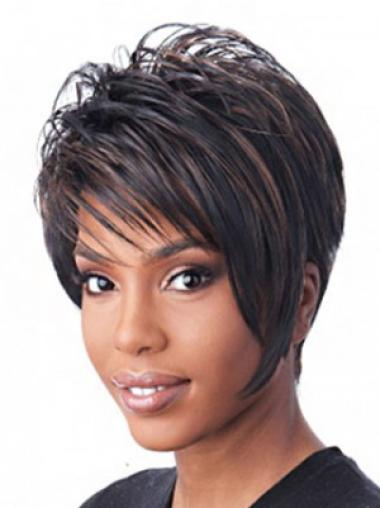 Black Straight Synthetic Mature Short Wigs
