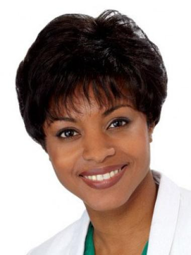 Black Straight Synthetic Traditiona Short Wigs