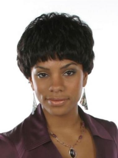 Black Wavy Synthetic Braw Short Wigs