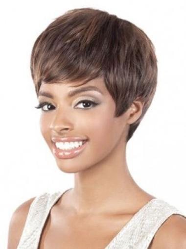 Brown Cool Layered Straight Short Wigs