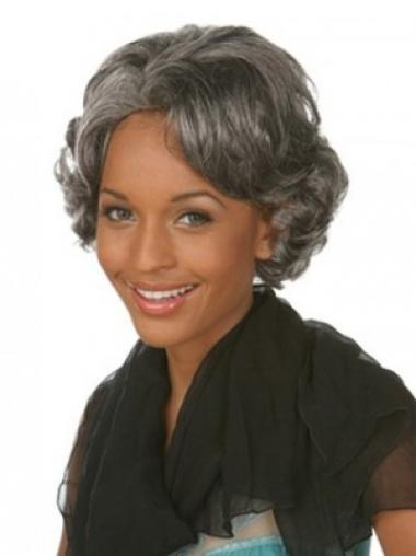 Fabulous Wavy Chin Length Synthetic Grey Wigs