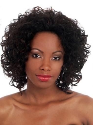 Black Curly Synthetic Convenient Medium Wigs