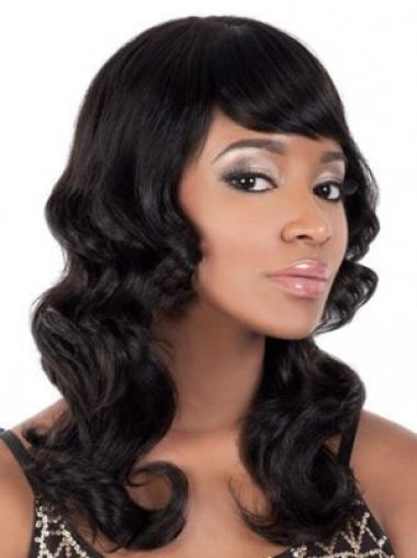 Ideal Black Wavy Synthetic Long Wigs