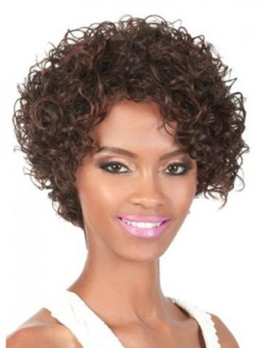 Brown Curly Synthetic Unique Medium Wigs