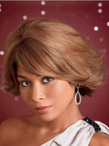 Brown Unique Wavy Synthetic Medium Wigs