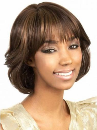 Brown Wavy Synthetic Modern Medium Wigs