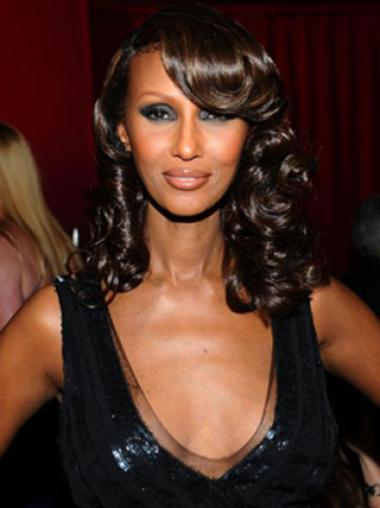Iman Stylish Sweet Glamourous Medium Curly Lace Front Wig 100% Real Human Hairs