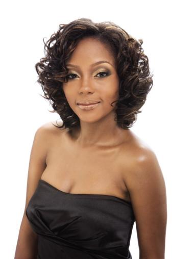 Hairstyles Brown Curly Chin Length African American Wigs