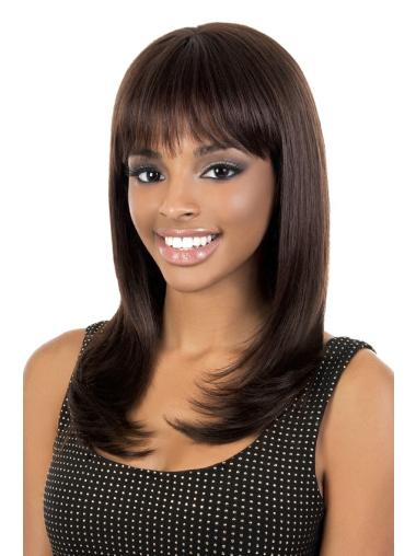 Wholesome Brown Straight Long African American Wigs