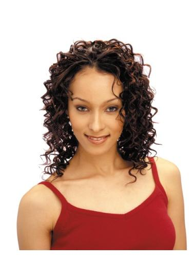 No-fuss Auburn Curly Shoulder Length African American Wigs