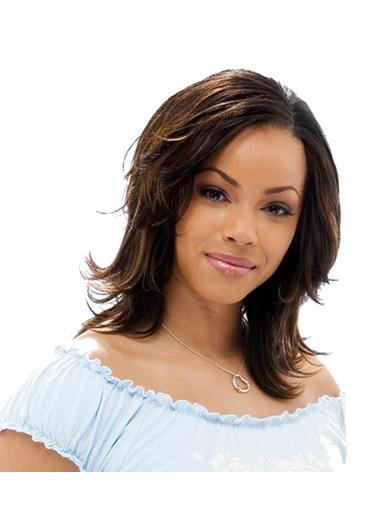 Elegant Brown Straight Shoulder Length African American Wigs