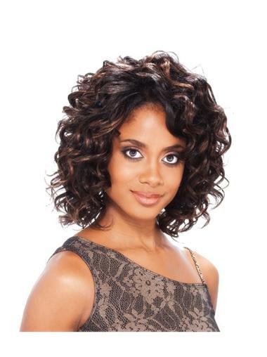 Shining Auburn Curly Chin Length Lace Wigs