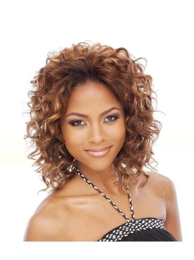 Traditiona Auburn Curly Chin Length African American Wigs