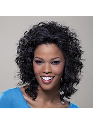 Medium Curly Lace Front Fashion Human Hair Wigs