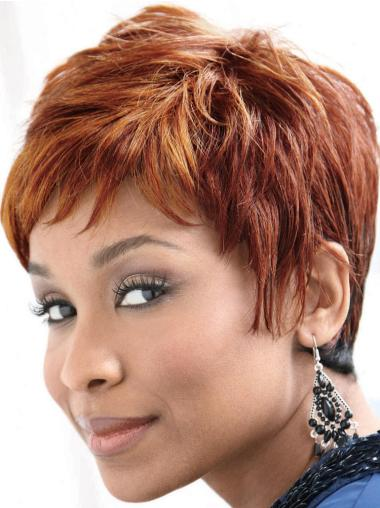 Glamorous Auburn Straight Cropped African American Wigs