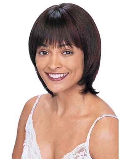 No-fuss Auburn Straight Chin Length Human Hair Wigs
