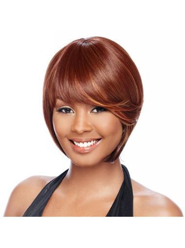 Gentle Auburn Straight Short African American Wigs