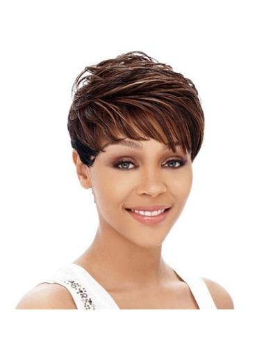 Easy Auburn Straight Cropped African American Wigs Black