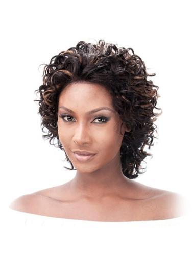 Sleek Auburn Curly Chin Length Lace Wigs